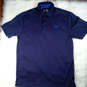 Under Armour Mens Blue 3 Button Heat Gear Shirt Md